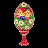 Пасхальное яйцо деревянное с ручной росписью Цыплята в корзинке