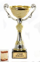 Кубок подарочный Чаша золотая с серебр.рельефными ручками Лучший менеджер