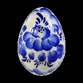 Пасхальное яйцо деревянное с ручной росписью Гжель. Цветы
