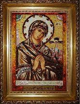 Ахтырская икона Богородицы из янтаря