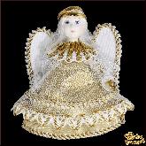 Авторская ёлочная игрушка ручной работы Ангел (зол)
