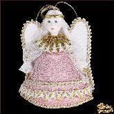 Авторская ёлочная игрушка ручной работы Ангел (роз)