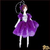 Авторская ёлочная игрушка ручной работы Балерина (сирень)