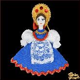 Авторская ёлочная игрушка ручной работы Девушка в национальном костюме