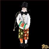 Авторская ёлочная игрушка ручной работы Клоун в цилиндре