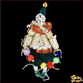 Авторская ёлочная игрушка ручной работы Клоун с бусами (красный)