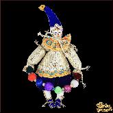 Авторская ёлочная игрушка ручной работы Клоун с бусами (синий)