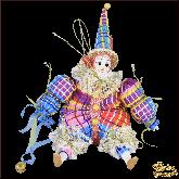 Авторская ёлочная игрушка ручной работы Клоун (синий).