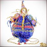 Авторская ёлочная игрушка ручной работы Клоун-мешок
