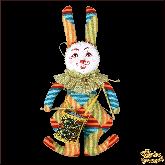 Авторская ёлочная игрушка ручной работы Кролик с барабаном
