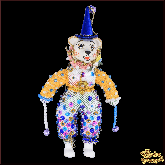Авторская ёлочная игрушка ручной работы Медведь-клоун