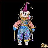 Авторская ёлочная игрушка ручной работы Медведь-клоун (гол)
