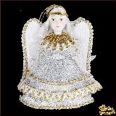 Авторская ёлочная игрушка ручной работы Ангел (бел)