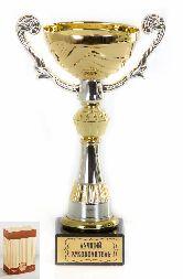 Кубок подарочный Чаша золотая с серебр.рельефными ручками Лучший руководитель