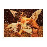 Ангелочек с ягненком из янтаря