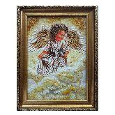 Ангелочек с синичкой из янтаря