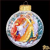Ёлочный шар ручной работы Зимняя сказка в стиле палех