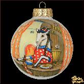 Ёлочный шар ручной работы Коза за столом