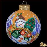 Ёлочный шар ручной работы Снеговик