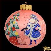 Ёлочный шар ручной работы Овца Снегурочка (розовый опал)