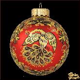 Ёлочный шар ручной работы Хохлома на красном