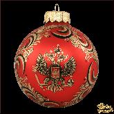 Ёлочный шар ручной работы Герб красный мат