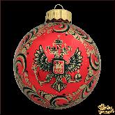 Ёлочный шар ручной работы Герб красный глянец