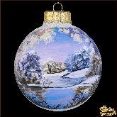 Ёлочный шар ручной работы Зимнее озеро бирюзовый мат