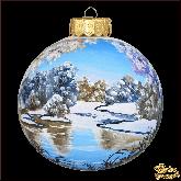 Ёлочный шар ручной работы Зимнее озеро розовый опал