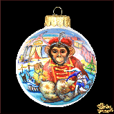 Ёлочный шар ручной работы Обезьяна и цирк