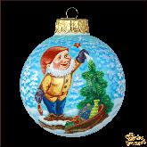 Ёлочный шар ручной работы Гном с подарками