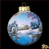 Ёлочный шар ручной работы Озеро зимой