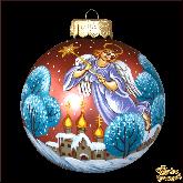 Ёлочный шар ручной работы Ангел в стиле палех
