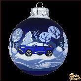 Ёлочный шар ручной работы Автомобиль синий