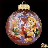 Ёлочный шар ручной работы Мишка с книжкой