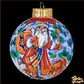 Ёлочный шар ручной работы Дед Мороз с подарком