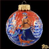 Ёлочный шар ручной работым Снегурочка и лиса