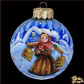 Ёлочный шар ручной работы Девушка с коромыслом