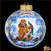 Ёлочный шар ручной работы По щучьему велению в стиле палех