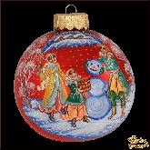 Ёлочный шар ручной работы Зимняя забава в стиле палех
