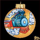 Ёлочный шар ручной работы Поезд
