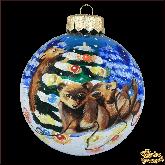 Ёлочный шар ручной работы Три медвежонка