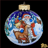 Ёлочный шар ручной работы Дед мороз с оленем