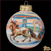 Ёлочный шар ручной работы Лошадь с санями
