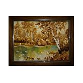 Березовая роща у реки картина из янтаря