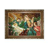 Богородица Иисус Христос икона из янтаря