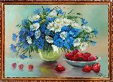 Букет полевых цветов и клубника