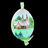Пасхальное яйцо куриное на ленте Церковь