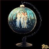 Ёлочный шар ручной работы на подставке  репр. Ботичелли Весна (роспись по кругу).