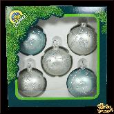 Ёлочные украшения из стекла Набор Полонез серебряно-голубой.